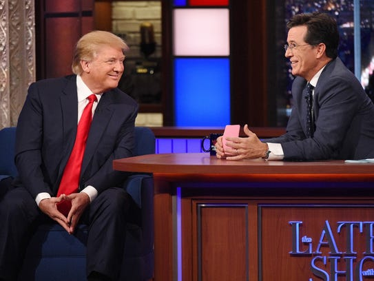 Trump attempting to charm Stephen Colbert on the Late
