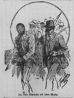 An illustration of the People's Grocery Lynchings from the Memphis Appeal-Avalanche.