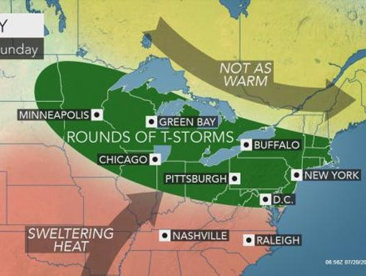 Weather forecast July 20, 2017