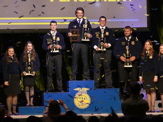 Shad Goplin (center), a Whitehall FFA member, is named