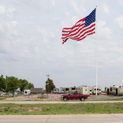 American flag is shown in Sioux Falls, S.D. on Wednesday,
