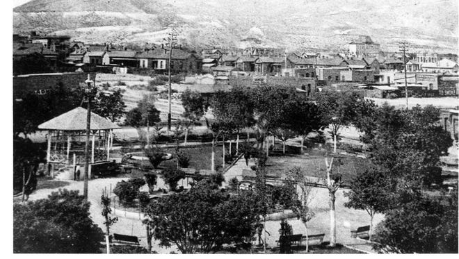 Photograph of what's now Downtown El Paso circa 1885, looking north with San Jacinto Plaza in the foreground.