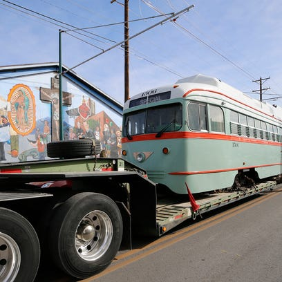 Welcome home! Streetcar No. 1506 arrives in Downtown El Paso