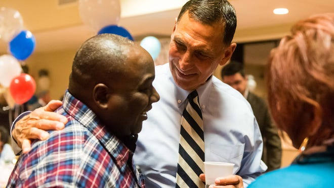 Frank LoBiondo, U.S. Representative for New Jersey's 2nd congressional district, meets with supporters at North Italy Hall on Tuesday, November 8.