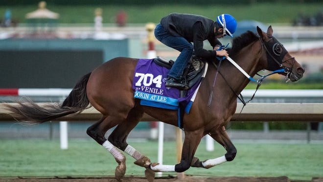 Lookin At Lee, owned by L&N Racing LLC and trained by Steven M. Asmussen, exercises in preparation for the Breeders' Cup Sentient Jet Juvenile  at Santa Anita Park on October 31, 2016 in Arcadia, California.