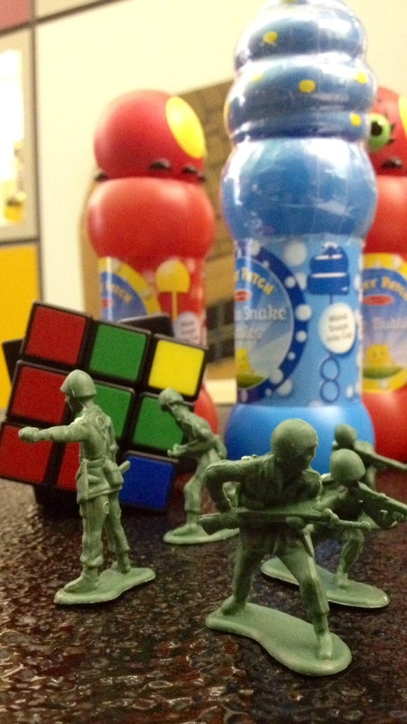 The Toy Hall of Fame inductees: Little Green Army Men, bubbles and the (non-toy) Rubik's Cube.