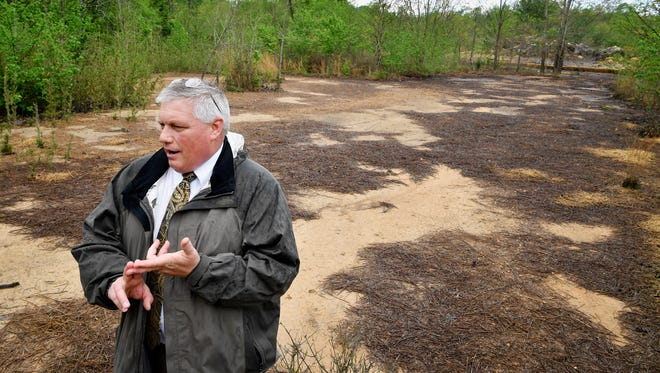 Decatur County Mayor Mike Creasy stands in an area where runoff from the landfill has caused vegetation to be killed and polluted a creek nearby Wednesday April 19, 2017, in Decaturville, TN. He is afraid it will leach into nearby wells and affect the local drinking water.