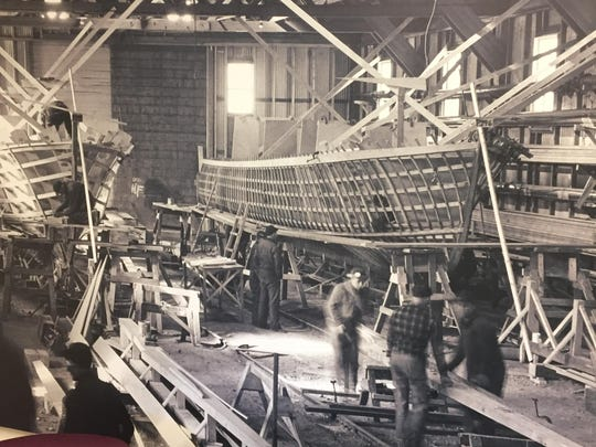 The sailboat Gal O Gallee is shown under construction
