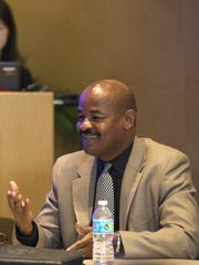 Don Logan speaks during a Diversity Dialogues panel discussion in 2014 at The Arizona Republic. Logan retired from his Scottsdale job in 2007 and has since started working for the City of Phoenix.