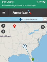 This screen shot from inside Safari on an iPhone shows the Success! screen confirming my wireless Internet connection on a recent American Airlines flight. The screen enabled me to track the plane's location in real time.