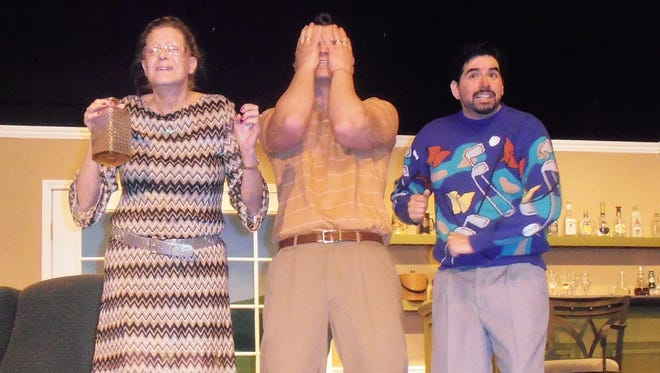 Pictured from left to right: Pamela Peabody (Monica Helm), Henry Bingham (Michael Hillis), and Dickie Bell (Tony Calderon) anticipate trouble as they watch the tournament between rival golf clubs, Quail Valley and Crouching Squirrel. The Fox on the Fairway will be presented November 20 and 21 at 7:30 p.m. and November 22 at 2 p.m. at the Rohovec Theatre on the NMSU-A campus, 2400 N. Scenic Dr. in Alamogordo. Tickets are $8 for adults and $4 for children. Advance tickets are available at The Blue Stone and Books Revisited. Tickets may also be purchased at the door before the show.