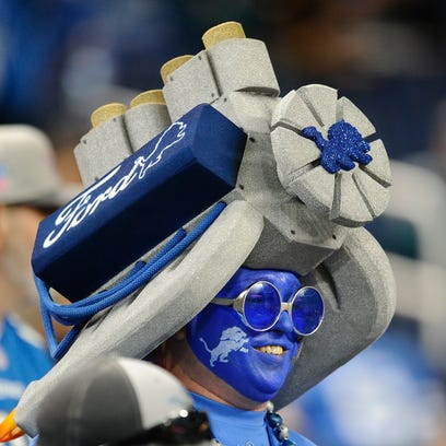 A Ford engine wearing Detroit fan shows his Lions love