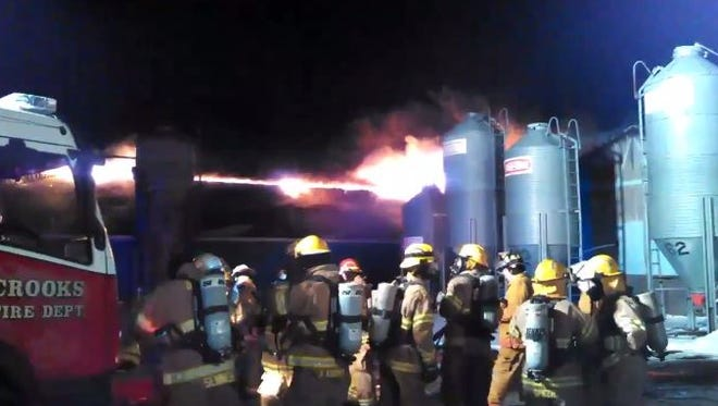 Crews on scene of a hog confinement fire north of Crooks.