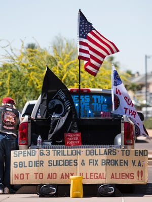 One of the signs brought to the VA Accountability Rally at Steele Indian School Park, Wednesday, April 16, 2014. Veterans and their families are angry over recent reports of negligence and ineptitude at Veterans Administration hospitals around the country, especially Phoenix.