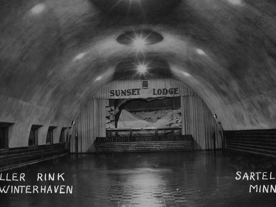 The inside of the Quonset hut that served as the lodge at Winter Haven and went on to be used as a roller skating rink until the mid-1960s.