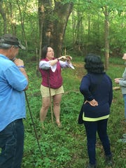 Naturalist Stacey Scarce leading the group.