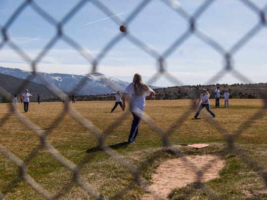 Students from Cedar and Canyon View middle schools gather to play kickball as part of national Kick Butts Day, Wednesday, March 16, 2016.