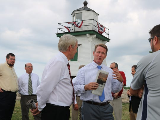 Jon Husted, center, candidate for Ohio Governor in 2018, said the health of Lake Erie would be one his top priorities. He was endorsed my numerous local officials on Thursday during a stop in Port Clinton.