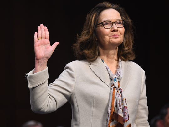 Gina Haspel testifies in front of the U.S. Senate Select Committee on Intelligence during her confirmation hearing March 13, 2018 in Washington.  President Trump nominated Haspel to be CIA Director, replacing Mike Pompeo, the current Secretary of State.