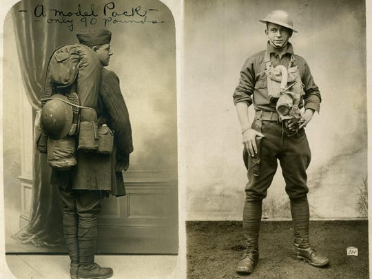 Full pack, only 90 pounds, and a summer kit on a World War I soldier.