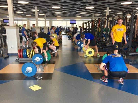 An advanced conditioning class works out on April 13