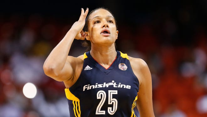 Indiana Fever guard Marissa Coleman reacts after scoring a three pointer against the Chicago Sky during the second half of Game 1 of the WNBA basketball Eastern Conference semifinals, Thursday, Sept. 17, 2015, in Chicago. Sky won 77-72. (AP Photo/Kamil Krzaczynski)