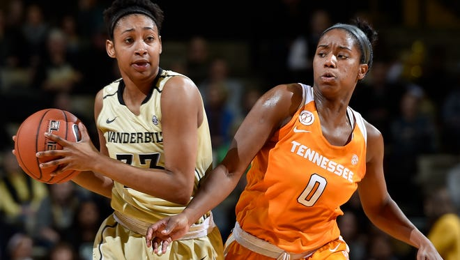 Vanderbilt guard Christa Reed, left, is guarded by Tennessee's guard Jordan Reynolds during the first quarter on Jan. 5., at Memorial Gym in Nashville.