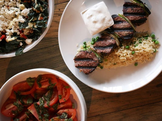 Steak Skewers and Vegetables at Char Kitchen + Bar