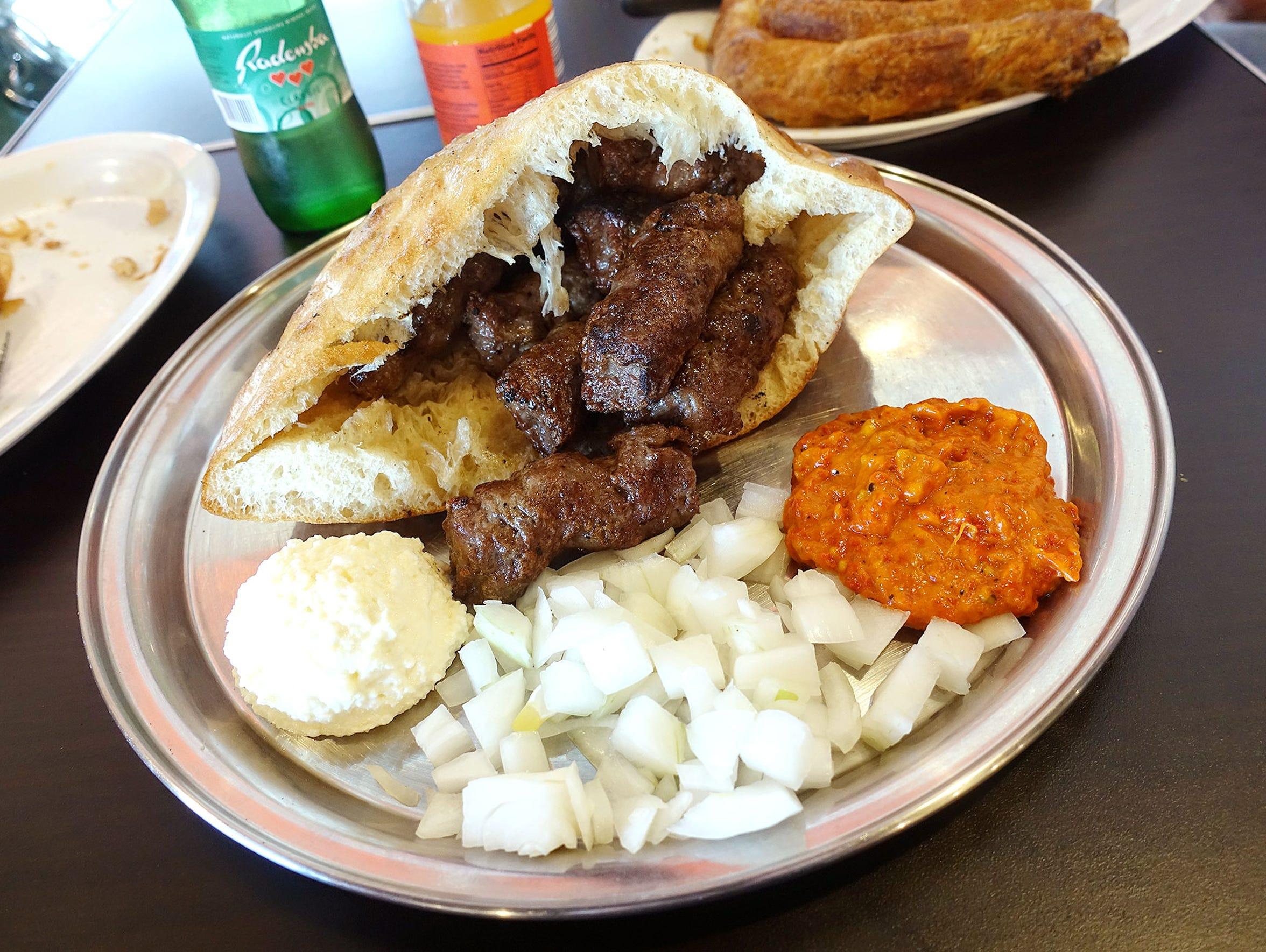 Cevapi, Bosnian beef sausages, at Balkan Bakery.