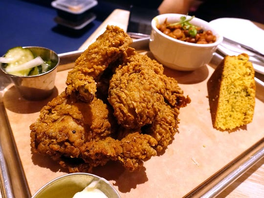 Southern fried chicken with jalapeño cornbread, burnt
