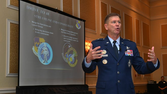 Brig. Gen. Wayne Monteith, commander of the 45th Space Wing and director of the Eastern Range, speaks during a luncheon at Cape Canaveral on Tuesday, Jan. 9, 2018.