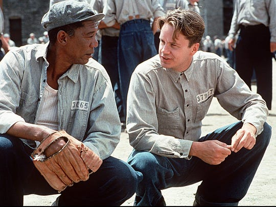 "Morgan Freeman, left, and Tim Robbins make the most of their jail time in 1994's ""The Shawshank Redemption."""