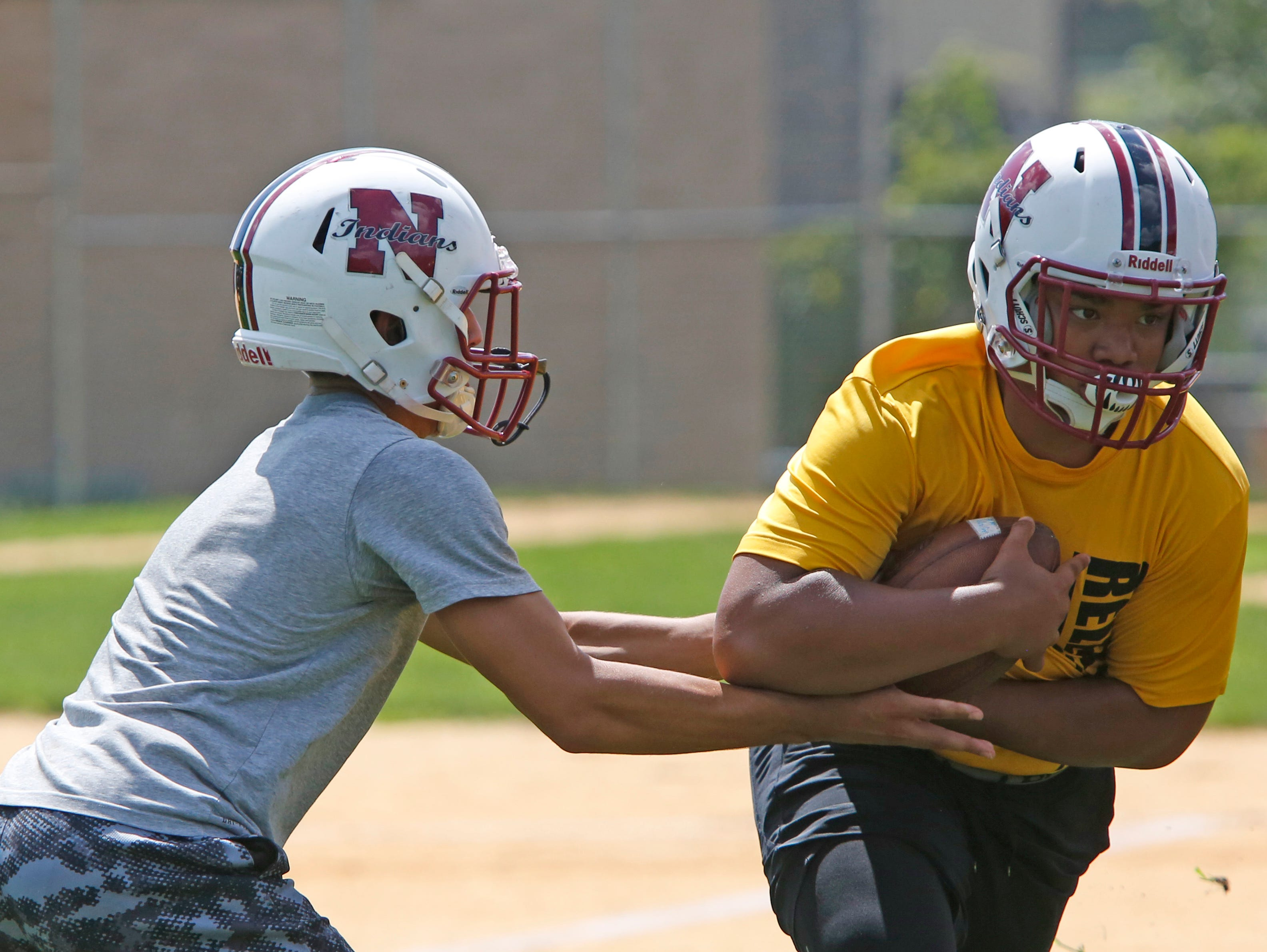 Nyack High School players work on drills during the first day of football practice Aug. 15, 2016 at Nyack Middle School.