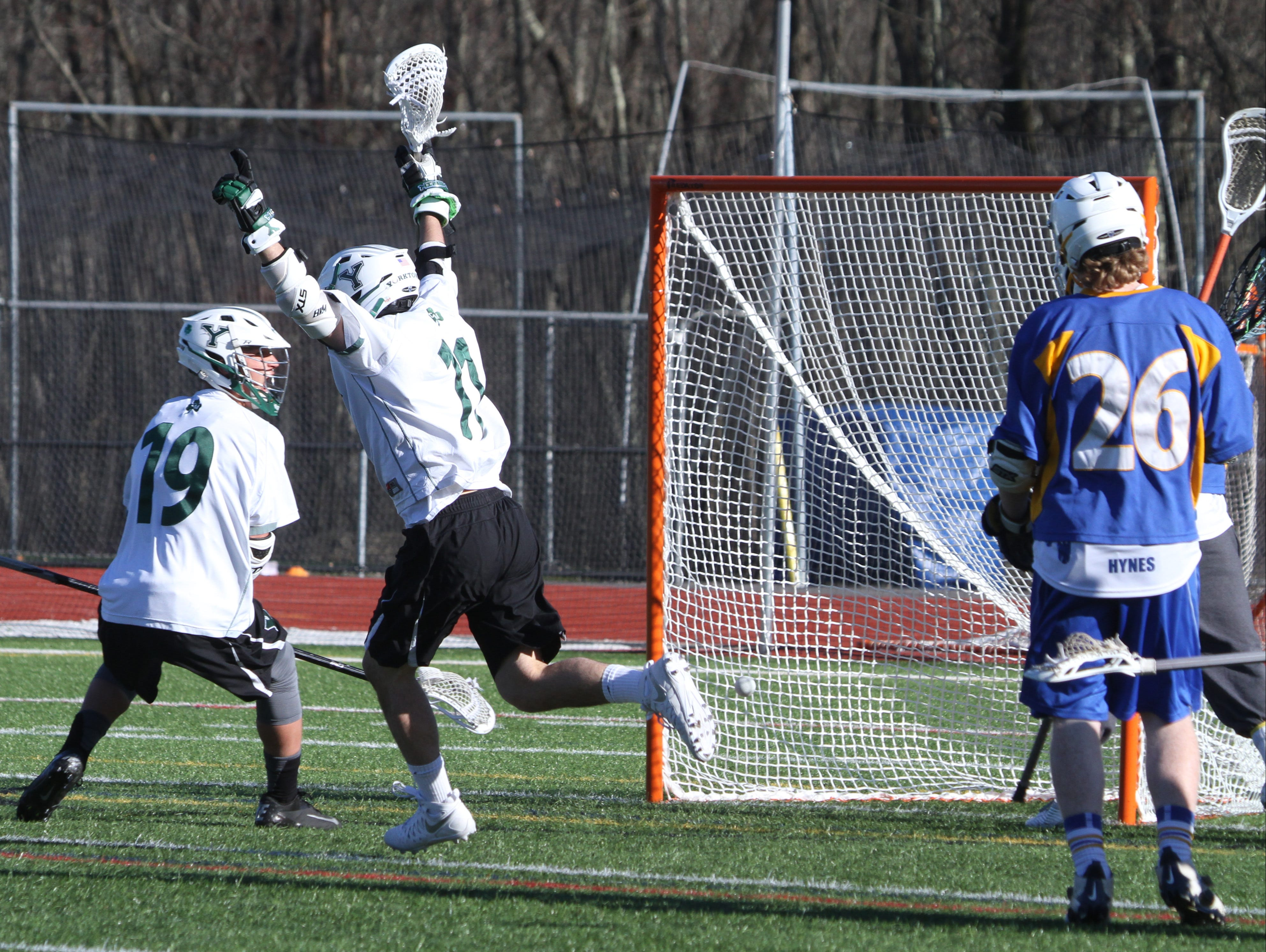 Yorktown defeated Mahopac 15-8 a varsity lacrosse game at Yorktown High School March 29, 2016.