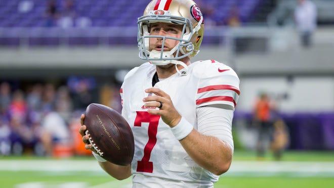Aug 27, 2017; Minneapolis, MN, USA; San Francisco 49ers quarterback Matt Barkley (7) warms up before the game against the Minnesota Vikings at U.S. Bank Stadium. Mandatory Credit: Brad Rempel-USA TODAY Sports