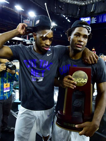 Duke Blue Devils forward Justise Winslow (right) and