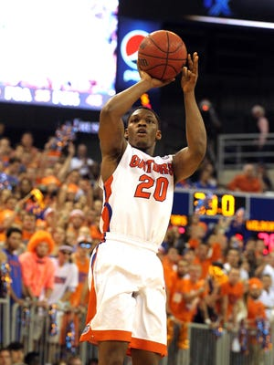 Florida Gators guard Michael Frazier II (20) shoots against the Kentucky Wildcats during the first half at Stephen C. O'Connell Center on Feb. 7, 2015.