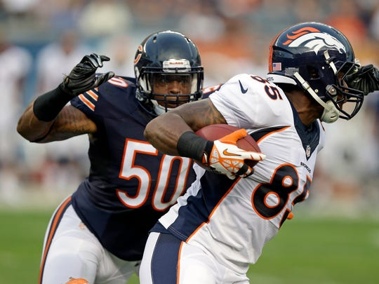 Former Colts linebacker Jerrell Freeman, shown tackling Broncos receiver Kieren Duncan (85) in August, returns to Indianapolis with the Chicago Bears on Oct. 9.