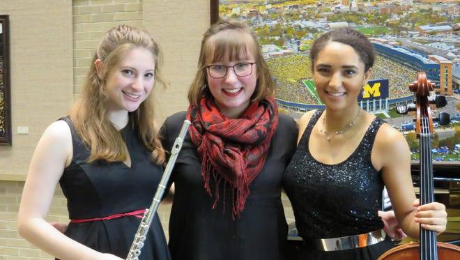Rachel Berkowitz, Annelisa Crabtree, and Anita Graef, are students from the U-M School of Music, Theatre & Dance. They performed a free concert at U-M Hospital last year.