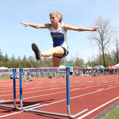 Colchester's Maggie Desmond clears a hurdle during