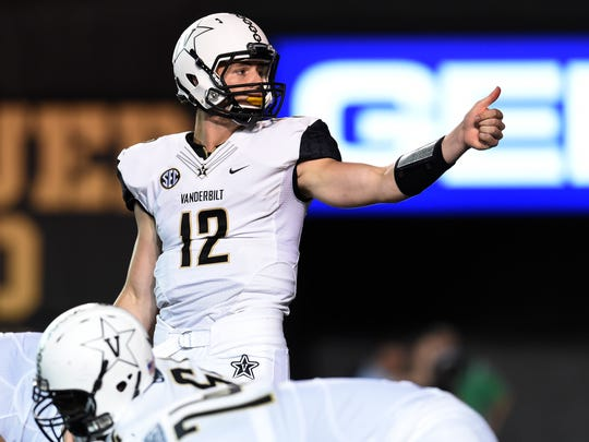 Vanderbilt quarterback Wade Freebeck (12) motions in the second quarter against South Carolina on Thursday, Sept. 1, 2016 in Nashville, Tenn.