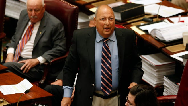 State Sen. Thomas Libous, R-Binghamton, debates medical marijuana legislation in Albany in June.