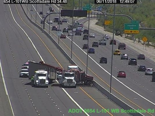 Jackknifed semi truck on Loop 101 in Scottsdale