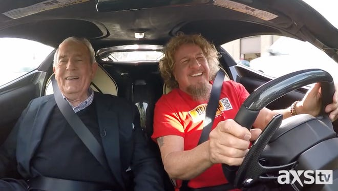 Sammy Hagar, right, gives Dan Rather a ride in his $1.3mm LaFerrari during AXS TV's The Big Interview.