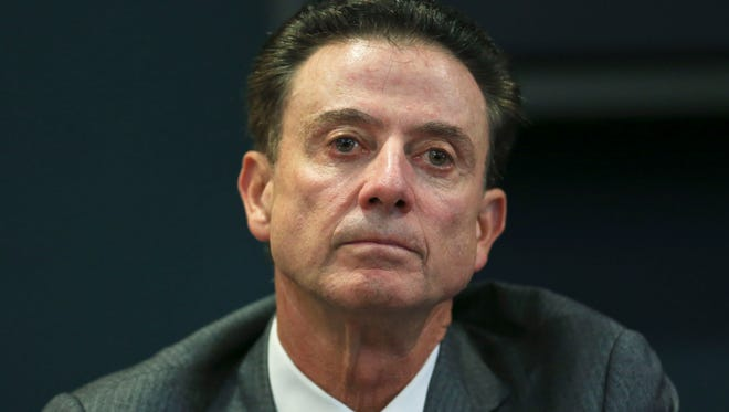 """Louisville coach Rick Pitino during the NCAA findings press conference at Grawmeyer Hall Thursday. """"I'm not guilty of failing to monitor my staff,"""" Pitino said. """"I'm guilty of trusting someone."""""""