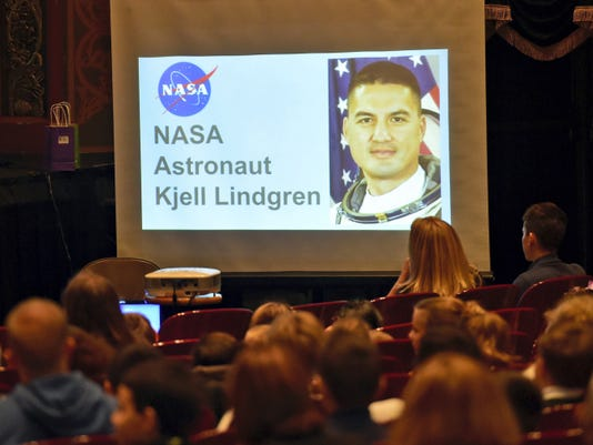 Corpus Christi Catholic School students took turns asking questions of astronaut Kjell Lindgren, who was aboard the International Space Station on Tuesday during an event at Capitol Theatre.