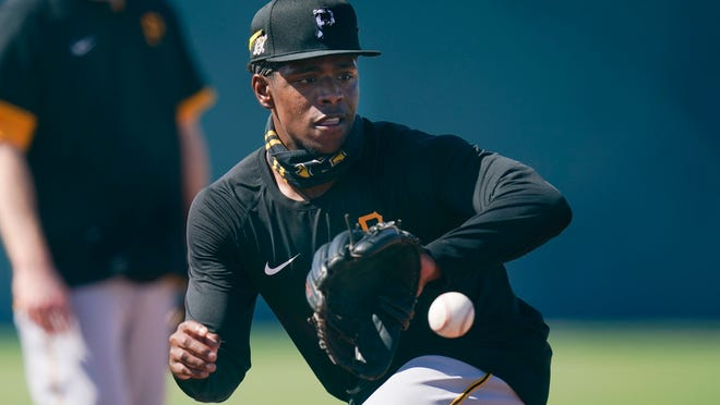 The Pittsburgh Pirates' Ke'Bryan Hayes takes part in a drill during a spring training workout Feb. 25 in Bradenton, Florida.
