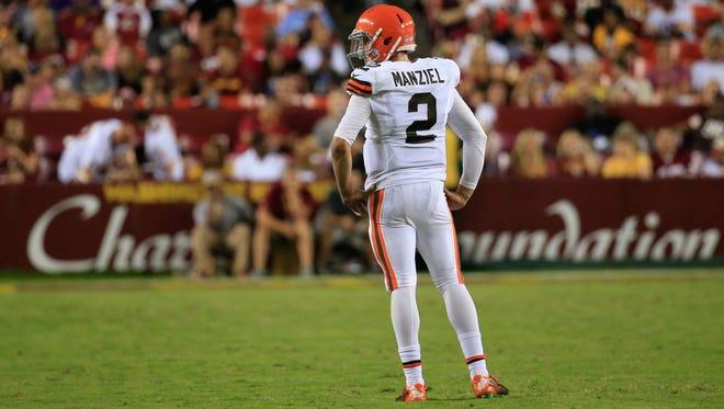 Browns quarterback Johnny Manziel looks on during a preseason game Aug. 18.