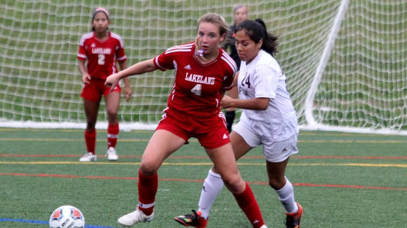 Lakeland's Madison Burgner (4), Briel Diaz (2) and goalie Sarah Deighan (background) were chosen first-team All-Passaic County for girls soccer by the Passaic County Coaches Association.
