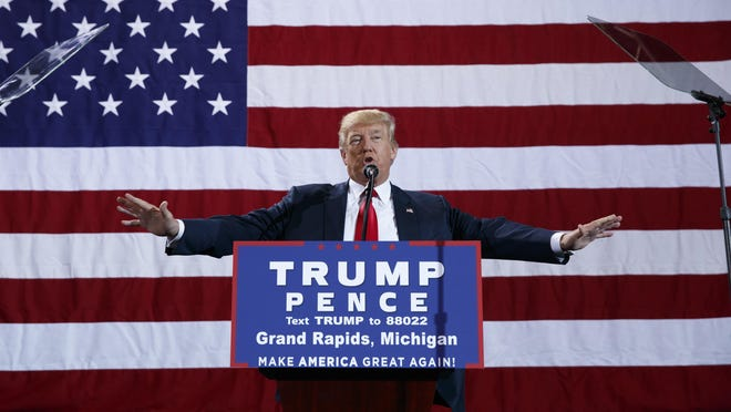 Republican presidential candidate Donald Trump speaks during a campaign rally, Monday, Oct. 31, 2016, in Grand Rapids, Mich. (AP Photo/ Evan Vucci)